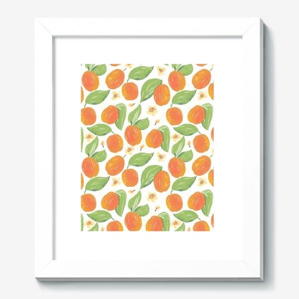 Картина «Абрикосовый сад в цвету. Спелый фрукт абрикос. Фрукты абрикосы. Весеннее цветение дерева.»