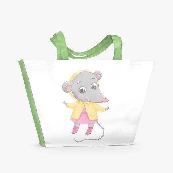 Пляжная сумка «Мышонок в желтом плаще»
