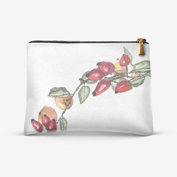 Косметичка «Романтичный венок из шиповника и яблок в акварельной технике»