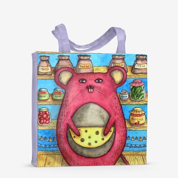 Сумка-шоппер «Сытая жизнь. Большая мышь в кладовке с сыром. »