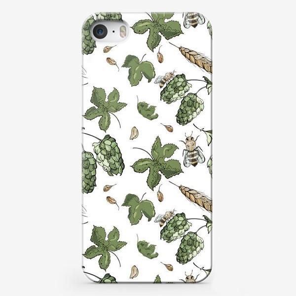 Чехол iPhone «Флористический паттерн с соцветиями хмеля, колосьями пшеницы и пчелами»