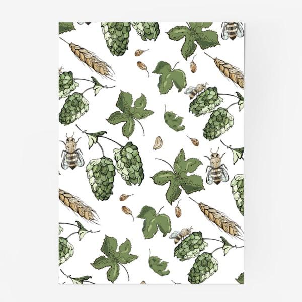 Постер «Флористический паттерн с соцветиями хмеля, колосьями пшеницы и пчелами»