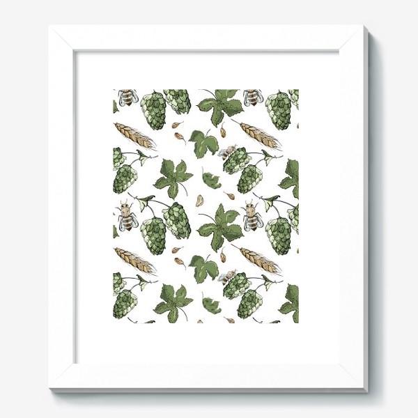 Картина «Флористический паттерн с соцветиями хмеля, колосьями пшеницы и пчелами»