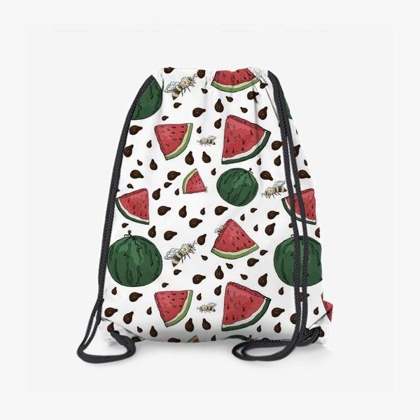 Рюкзак «Летний сочный паттерн с арбузами, их семечками и пчелами»