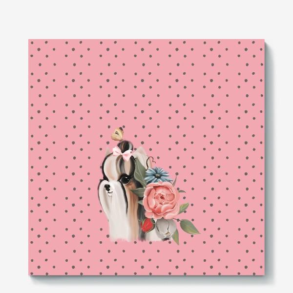Холст «Паттерн Йорк на розовом фоне»