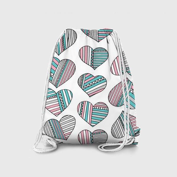 Рюкзак «Сердечки в полоску»