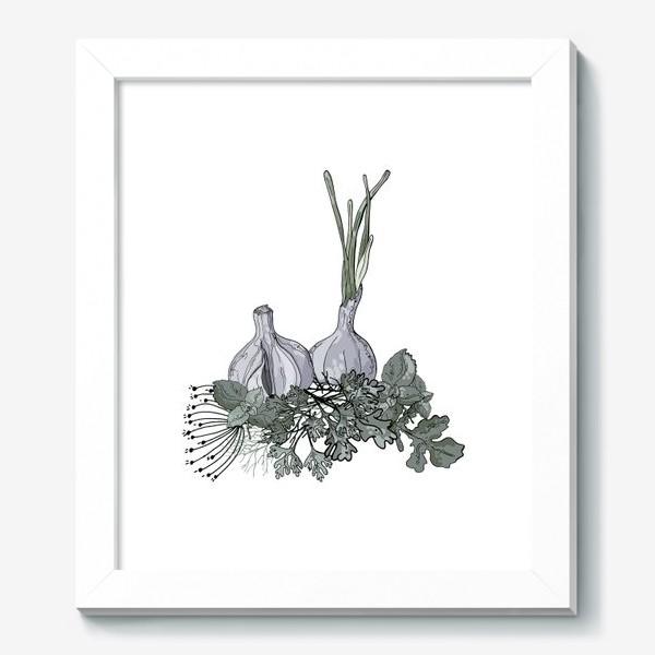 Картина «Комопзиция из головок чеснока и пряных трав в стилистике фуд-иллюстраций»
