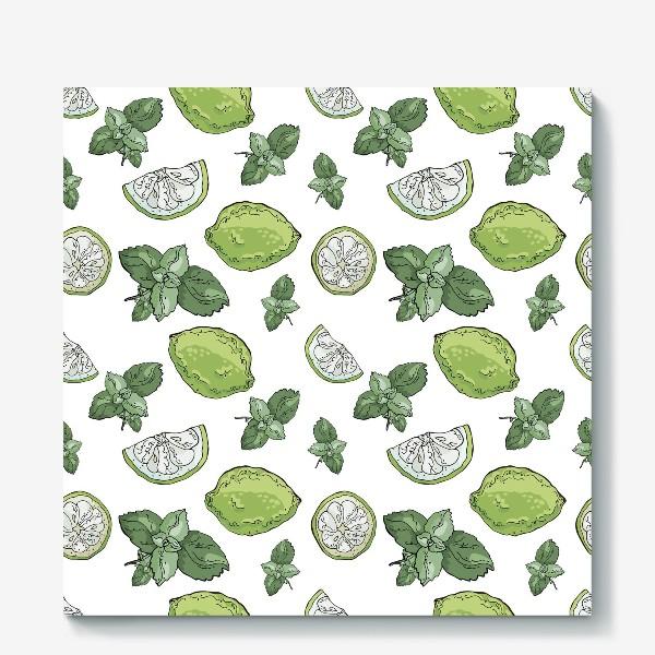Холст «Сочно-зеленый летний паттерн с лаймами и мятой»
