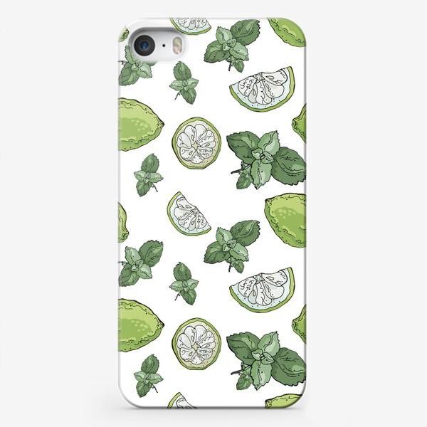Чехол iPhone «Сочно-зеленый летний паттерн с лаймами и мятой»