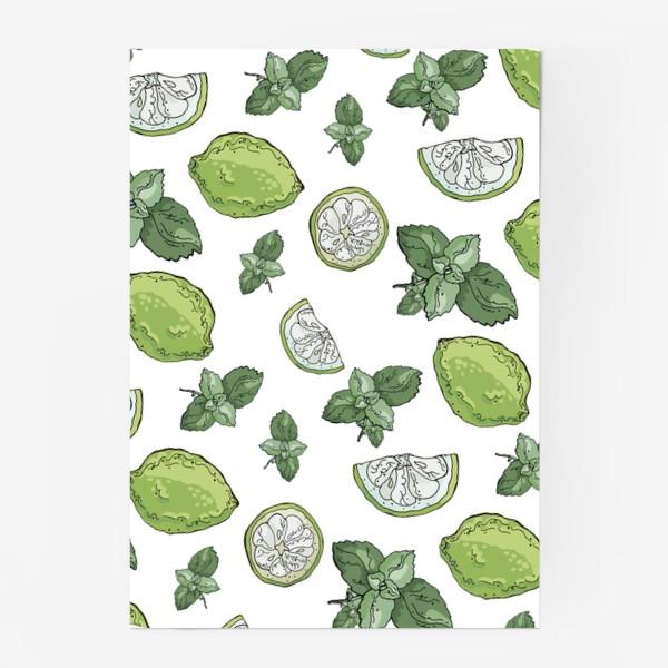 Постер «Сочно-зеленый летний паттерн с лаймами и мятой»