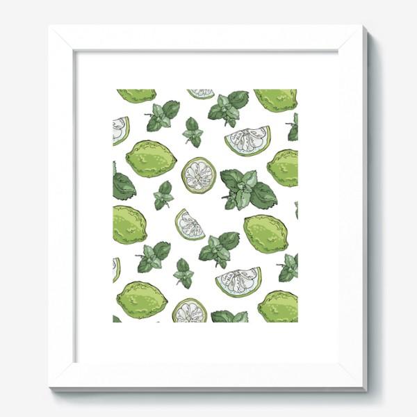 Картина «Сочно-зеленый летний паттерн с лаймами и мятой»