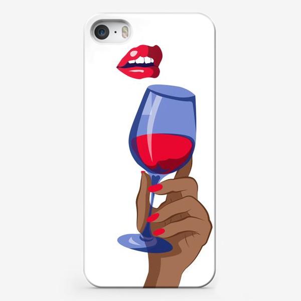 Чехол iPhone «Губы и рука с бокалом вина»