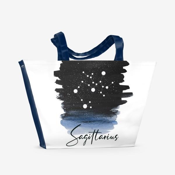 Пляжная сумка «Созвездие Стрелец. Звездное небо. Акварель»