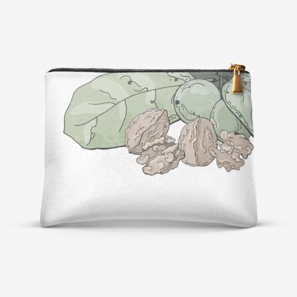 Косметичка «Композиция из мешочка, грецких орехов и листвы в стилистике фуд-иллюстраций»