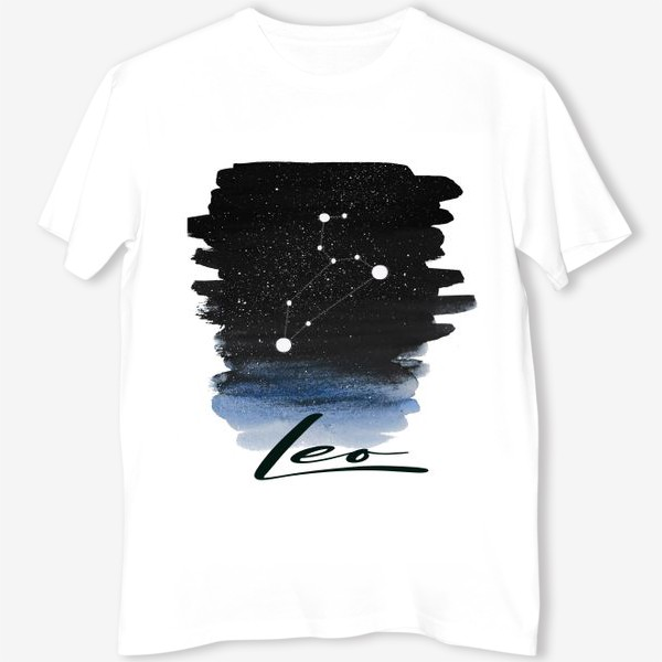 Футболка «Созвездие Лев. Звездное небо. Акварель»