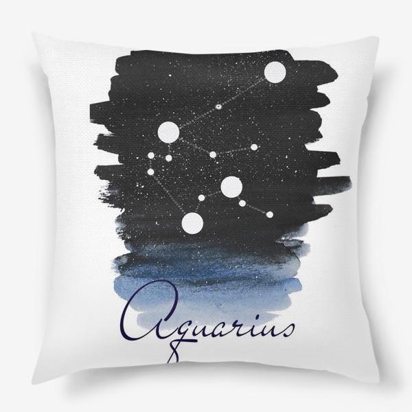Подушка «Созвездие водолея. Звездное небо. Акварель»