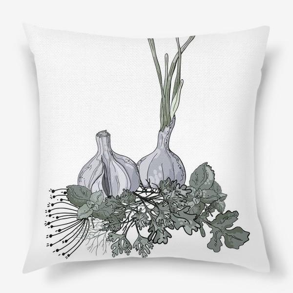 Подушка «Комопзиция из головок чеснока и пряных трав в стилистике фуд-иллюстраций»