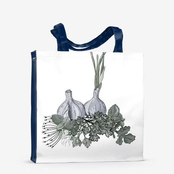 Сумка-шоппер «Комопзиция из головок чеснока и пряных трав в стилистике фуд-иллюстраций»