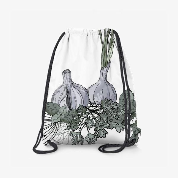 Рюкзак «Комопзиция из головок чеснока и пряных трав в стилистике фуд-иллюстраций»