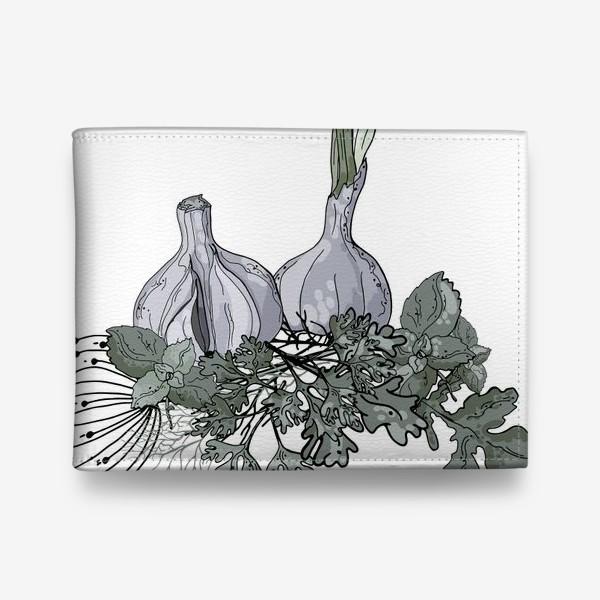 Кошелек «Комопзиция из головок чеснока и пряных трав в стилистике фуд-иллюстраций»