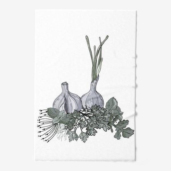 Полотенце «Комопзиция из головок чеснока и пряных трав в стилистике фуд-иллюстраций»