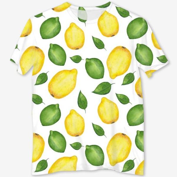 Футболка с полной запечаткой «Лимоны и листья»