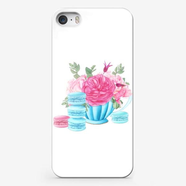 Чехол iPhone «Композиция с пирожными макаронс»