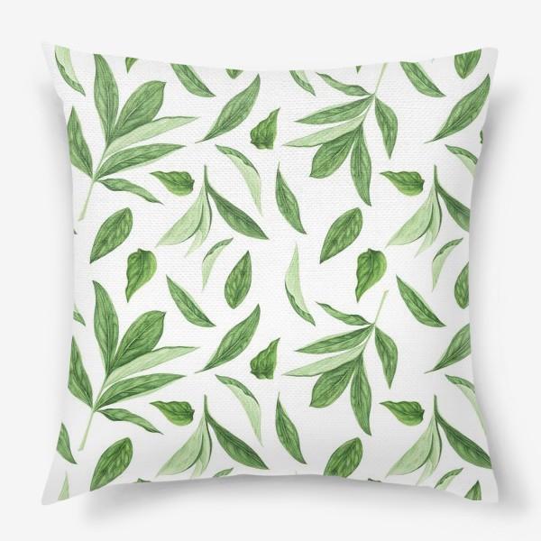 Подушка «Листья пиона»