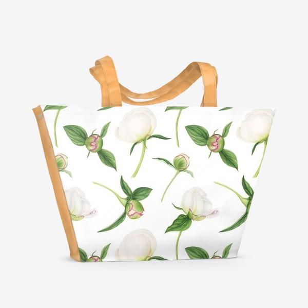 Пляжная сумка «Бутоны белых пионов»
