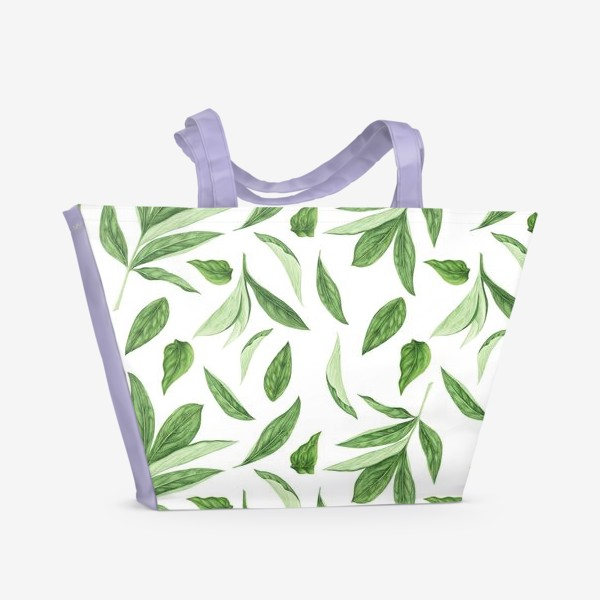 Пляжная сумка «Листья пиона»