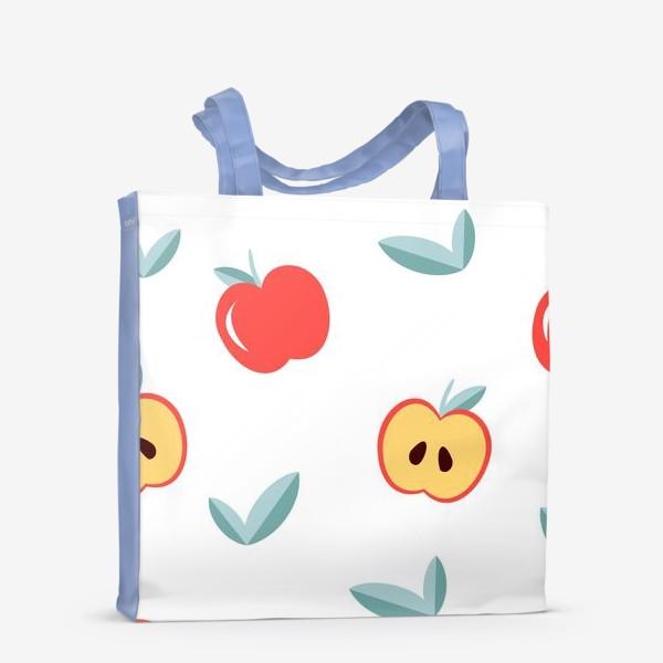 Сумка-шоппер «Паттерн с большими красными яблоками и листиками»
