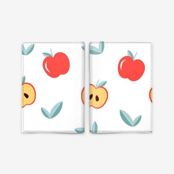 Обложка для паспорта «Паттерн с большими красными яблоками и листиками»