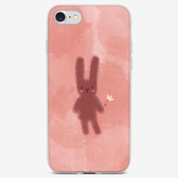 Чехол iPhone «Нежный зайчик с цветком»