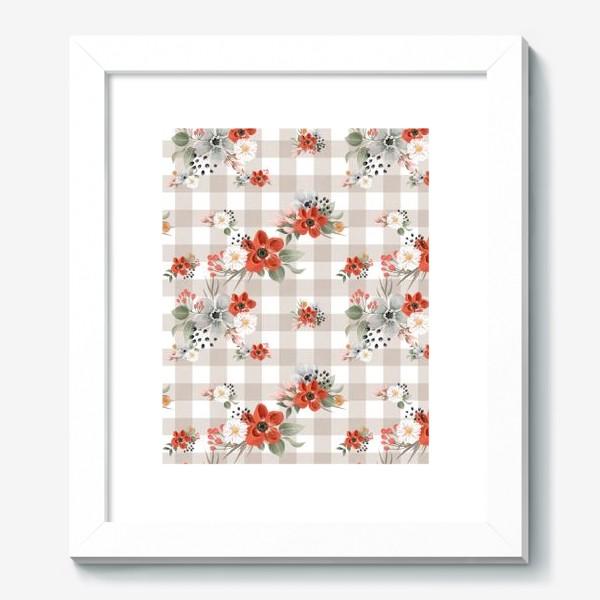 Картина «Цветочный паттерн, клетка»