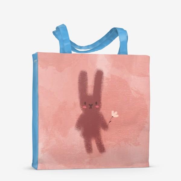 Сумка-шоппер «Нежный зайчик с цветком»