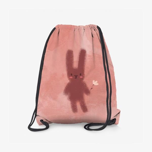 Рюкзак «Нежный зайчик с цветком»