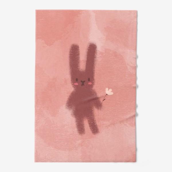 Полотенце «Нежный зайчик с цветком»