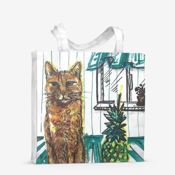 Сумка-шоппер «Котик и ананас дома»