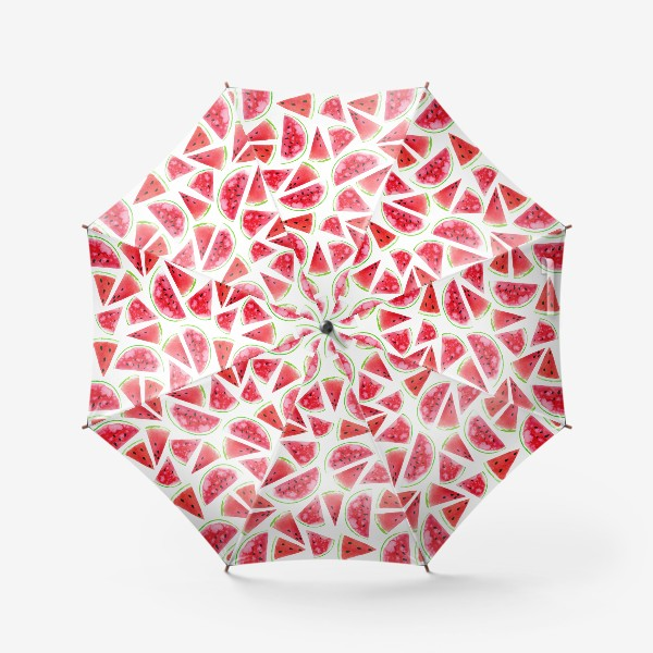 Зонт «Акварельные кусочки арбузов. Летний сочный паттерн»