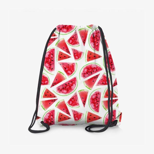Рюкзак «Акварельные кусочки арбузов. Летний сочный паттерн»