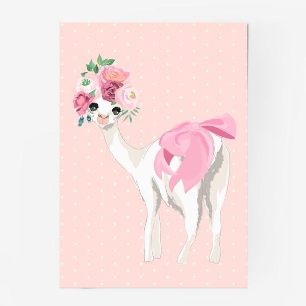 Постер «Лама с цветами»
