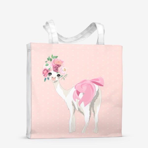 Сумка-шоппер «Лама с цветами»