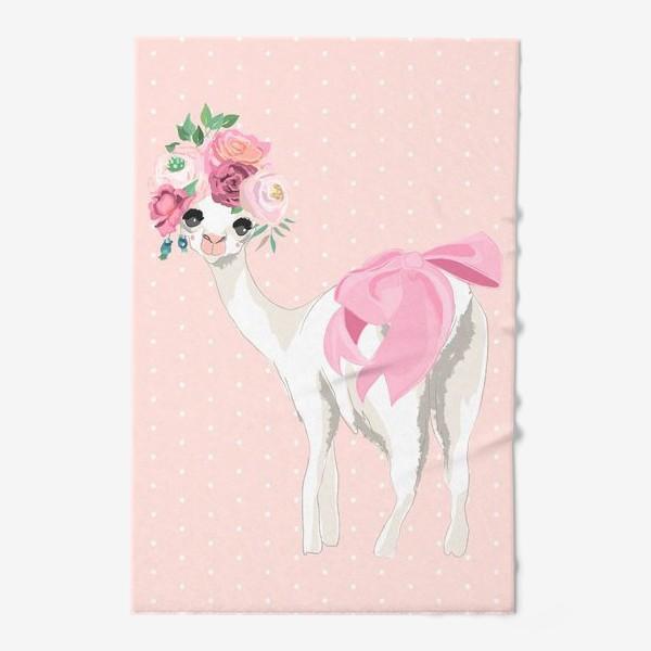 Полотенце «Лама с цветами»