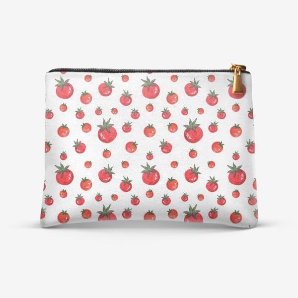 Косметичка «Паттерн с акварельными томатами»