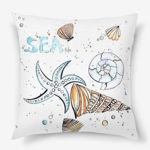 Подушка «Море. Лето. Ракушки.»