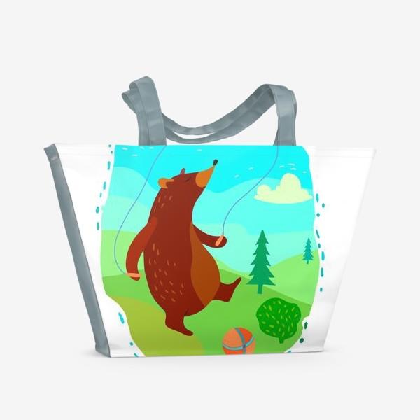 Пляжная сумка «Мишка скачет со скакалкой»