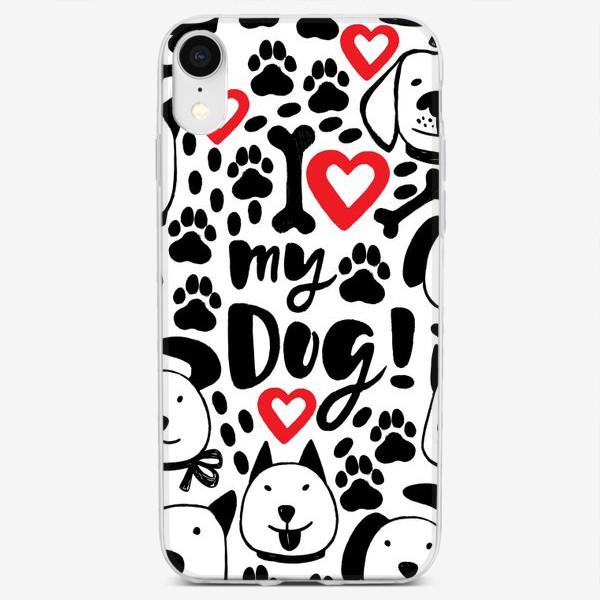 Чехол iPhone «I love my dog! Собака, собаки, собачьи лапки, отпечатки лап, косточка, косточки, леттеринг.»
