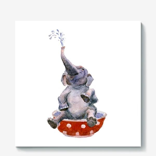 Холст «слон купается в посуде пиала»