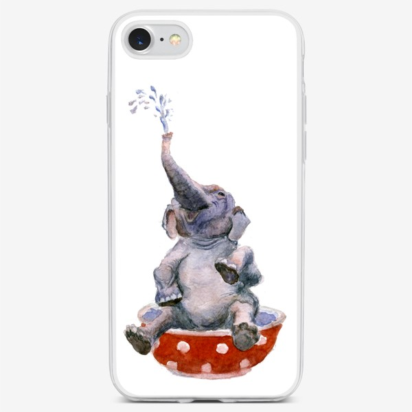 Чехол iPhone «слон купается в посуде пиала»