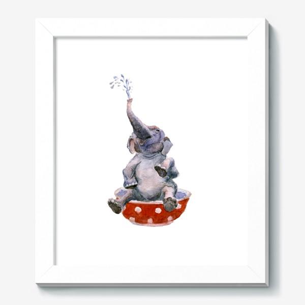 Картина «слон купается в посуде пиала»